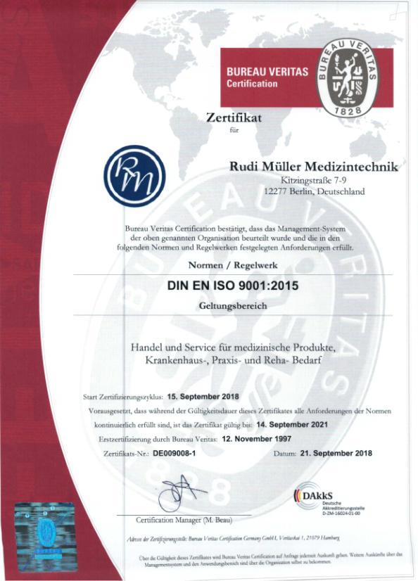 ISO Zertifizierung Rudi Müller Medizintechnik